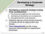 developing a corporate strategy