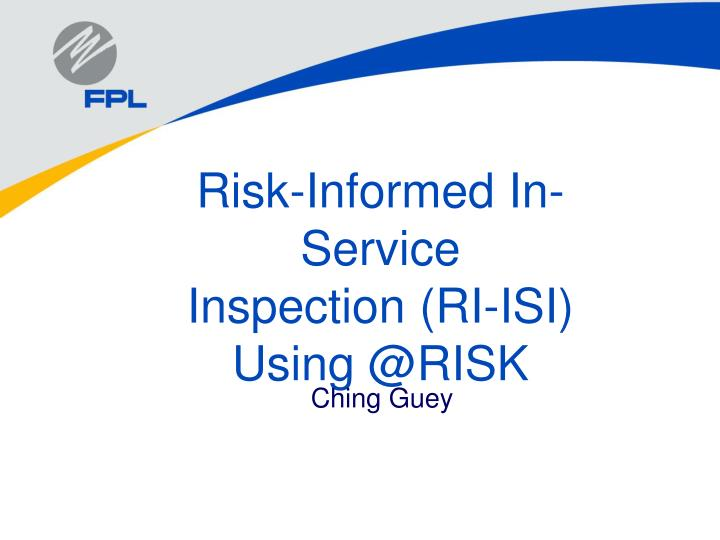 risk informed in service inspection ri isi using @risk n.