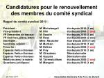 candidatures pour le renouvellement des membres du comit syndical1