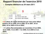 rapport financier de l exercice 20103