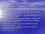 application and award timeline for idea part b