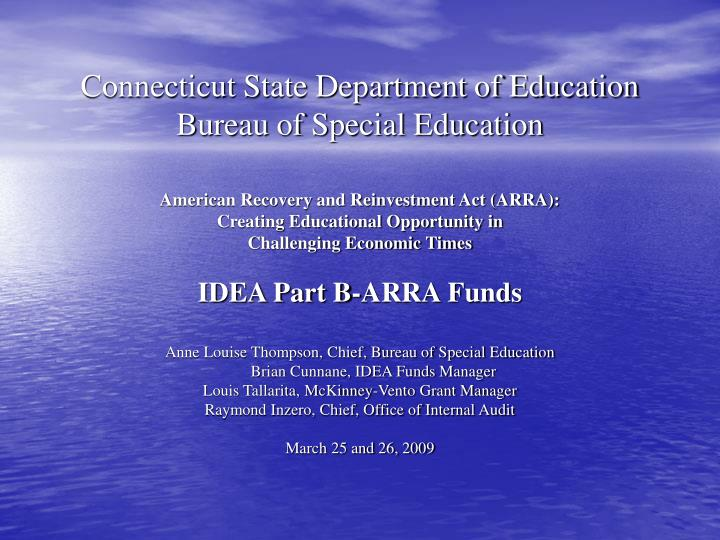 connecticut state department of education bureau of special education n.