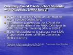 parentally placed private school students with disabilities arra funds