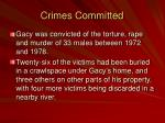 crimes committed