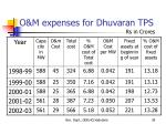 o m expenses for dhuvaran tps