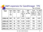 o m expenses for gandhinagar tps