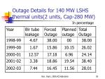 outage details for 140 mw lshs thermal units 2 units cap 280 mw