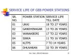 service life of geb power stations