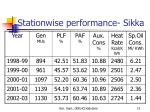 stationwise performance sikka