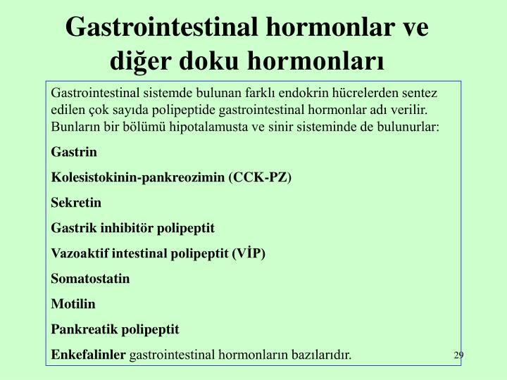 Gastrointestinal hormonlar ve diğer doku hormonları