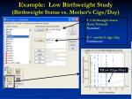 example low birthweight study birthweight status vs mother s cigs day