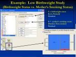 example low birthweight study birthweight status vs mother s smoking status