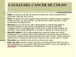 causas del cancer de colon