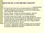 que es el cancer de colon