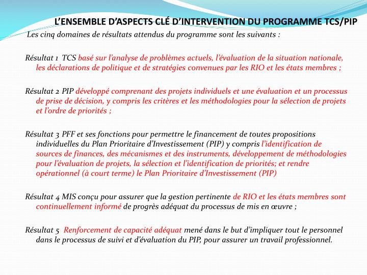 L'ENSEMBLE D'ASPECTS CLÉ D'INTERVENTION DU PROGRAMME TCS/PIP
