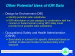 other potential uses of iur data