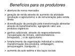 benef cios para os produtores