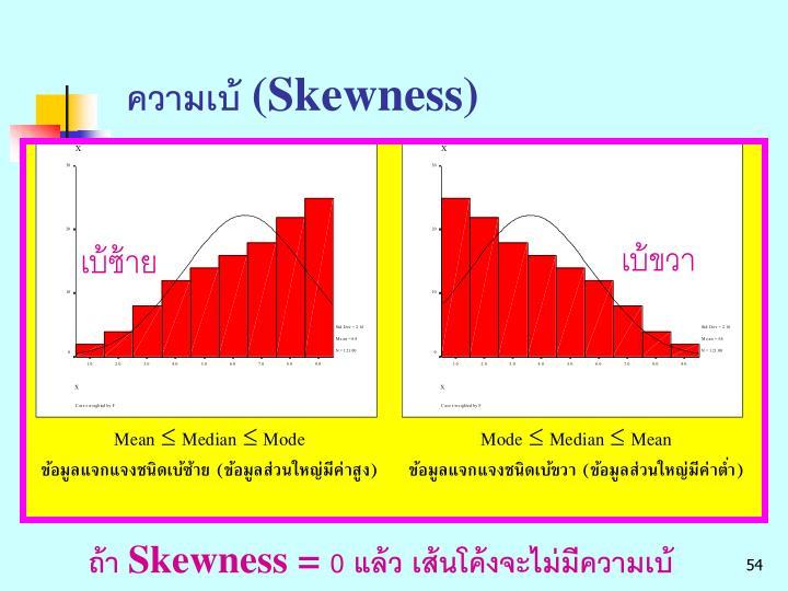 ความเบ้ (Skewness)