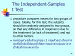 the independent samples t test