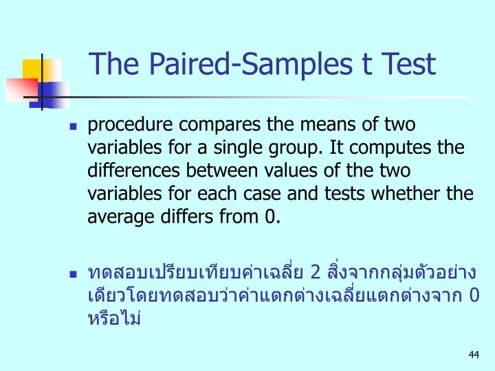 The Paired-Samples t Test