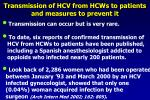 transmission of hcv from hcws to patients and measures to prevent it