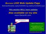 a dvisor live web update page