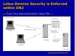 lotus domino security is enforced within db2