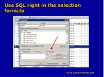 use sql right in the selection formula