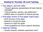 reading for thursday as level topology