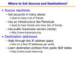 where to get sources and destinations
