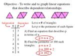 objective to write and to graph linear equations that describe dependent relationships