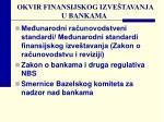 okvir finansijskog izve tavanja u bankama