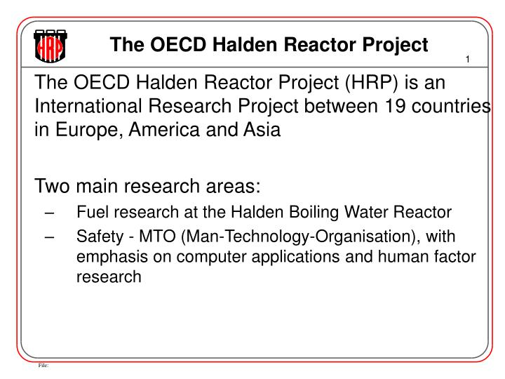 the oecd halden reactor project n.