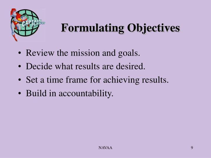 Formulating Objectives
