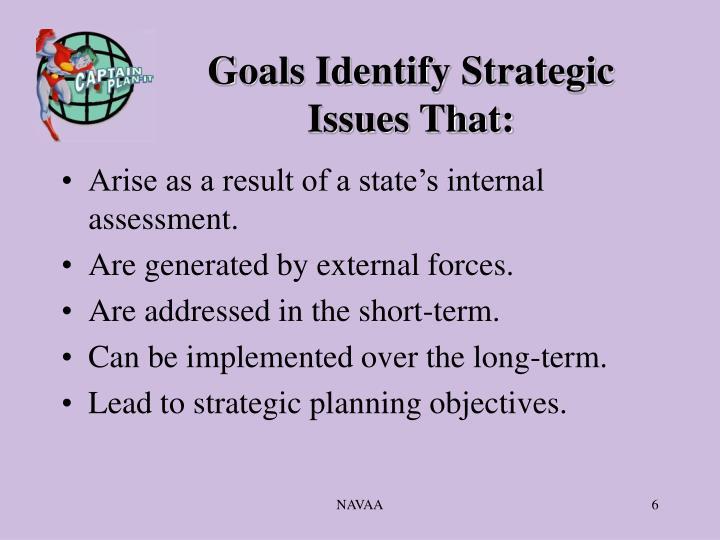 Goals Identify Strategic Issues That: