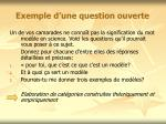 exemple d une question ouverte