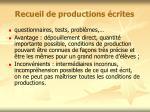 recueil de productions crites