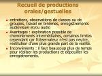 recueil de productions orales gestuelles