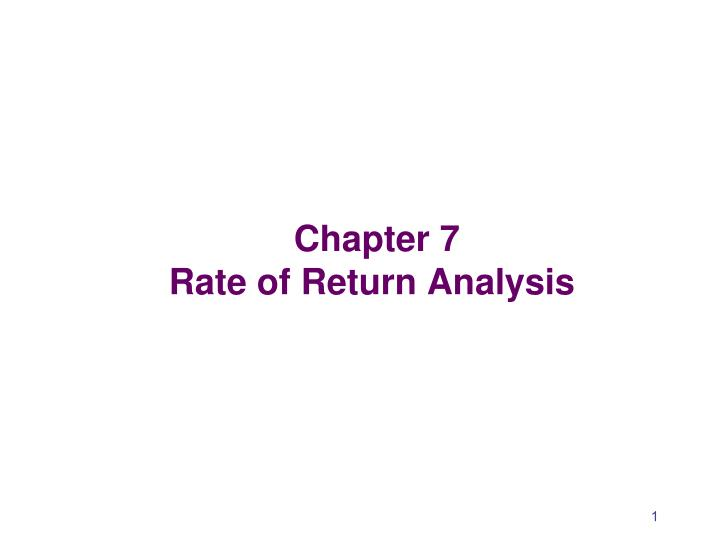 chapter 7 rate of return analysis n.