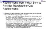 requirements from indian service provider translated to qay requirements