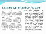 select the type of used car you want