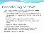 discontinuing of cpap