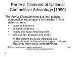 porter s diamond of national competitive advantage 1990