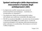 ipotesi aminergica della depressione meccanismo d azione degli antidepressivi ad