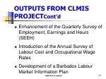 outputs from clmis project cont d