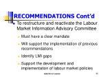 recommendations cont d