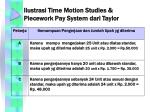 ilustrasi time motion studies piecework pay system dari taylor