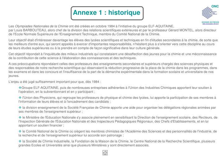 Annexe 1 : historique