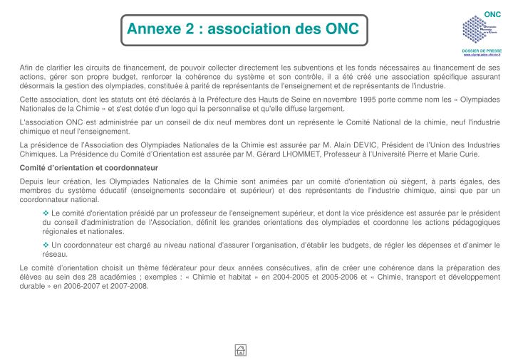 Annexe 2 : association des ONC
