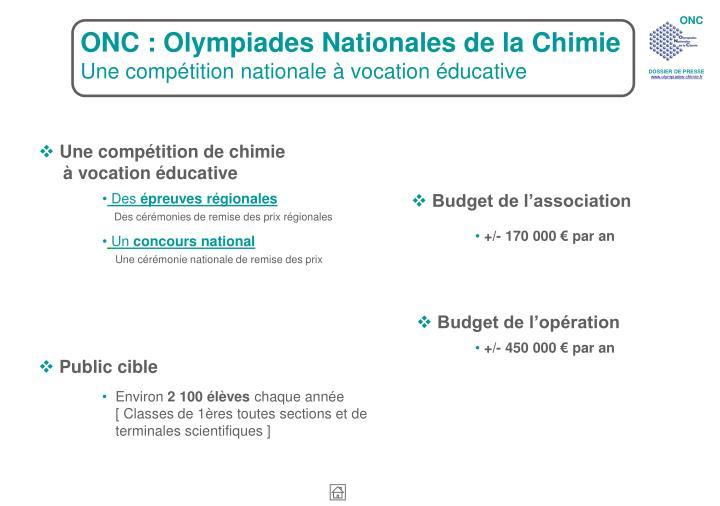 ONC : Olympiades Nationales de la Chimie